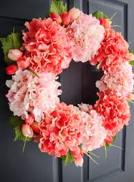 wreaths by homehearthgarden etsy coral pink hydrangea