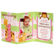 1st birthday girl safari 1st birthday girl personalized tri fold invitation