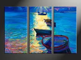 3 piece canvas blue sunrise ocean oil paintings huge pictures home decor 3 piece photo canvas ocean artwork ship large canvas scenery