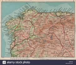 Asturias Spain Map by North West Spain Vintage Map Plan Galicia Asturias 1930 Stock