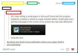 Microsoft Word Meme - microsoft word crashes and starts playing skyrim on tumblr user s