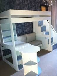 construction of full size loft bed with stairs and lots of storage