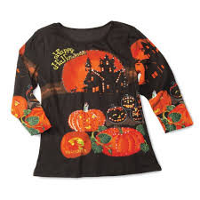 Halloween T Shirts For Dogs by Women U0027s Happy Halloween 3 4 Sleeves Sequin Top At Amazon Women U0027s