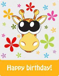 happy birthday funny greeting card with giraffe illustra u2014 stock