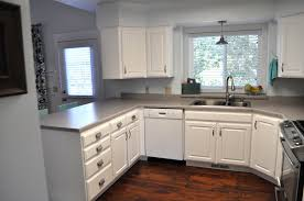 Painting Kitchen Cabinets White Diy Diy Painting Kitchen Cabinets White With Marble Countertop Also