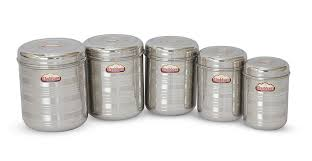 buy shubham kitchen storage steel container 5 pc set 8 to 3litre