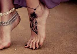 black ink rosary feather tattoo on foot