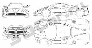 pagani drawing чертеж pagani zonda f 1999 3dcar ru 3d модели