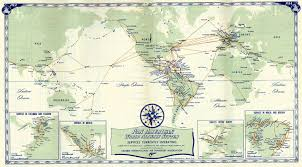 World Map 1940 by Pan American World Airways System Map Of Services Currently