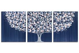 nursery canvas art tree painting in dark blue and pink large