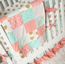 Coral And Mint Bedding Crib Bedding Woodlands Stag Nursery U2013 Giggle Six Baby