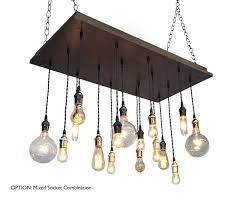 industrial chandelier with mixed metal sockets perfect dining