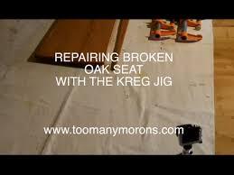 Kreg Jig Table Top Practical Use Of Kreg Jig For Oak Seat Repair Youtube