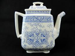 antique pot metal ls antique lewis strauss sons blue white gordon teapot england l s