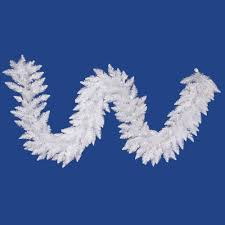 vickerman 9 sparkle white spruce garland with 100 white led