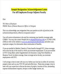 resignation acknowledgement letter templates 6 free word pdf