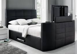 Tv Bed Frames 5ft Kingsize Electric Chenille Tv Bed Wth Remote Ebay