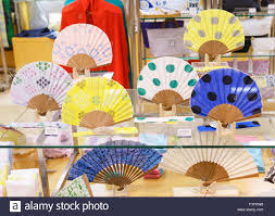 japanese fans japanese fans on display in a kimono store tokyo japan stock