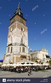 city hall tower market square rynek krakow cracow poland europe