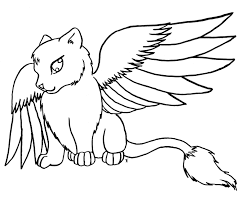cat with wings coloring pages