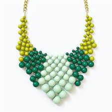 color bead necklace images Color block bib chunky beaded necklace with green mint beads jpg