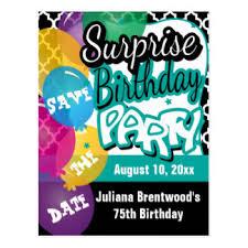 surprise party postcards zazzle
