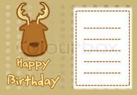 birthday card with illustration cute deer stock vector colourbox