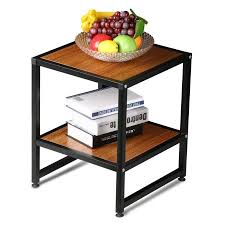 Nightstand With Shelves Yaheetech 2 Tier 15