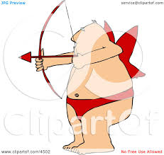 overweight man wearing valentine cupid costume while aiming a bow