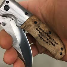 philippians 4 13 quote engraved on wood handle pocket knife