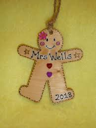 personalised gingerbread lady wooden christmas tree hanger