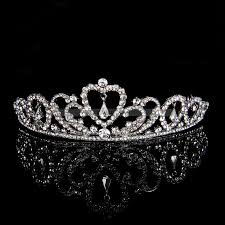 wedding tiara rhinestone silver plated alloy wedding tiara with dangling heart