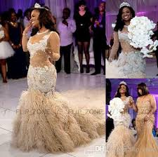 gold wedding dresses 2016 aso ebi style mermaid wedding dresses sheer neckline
