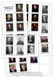 memorize the presidents printable cards layers of learning