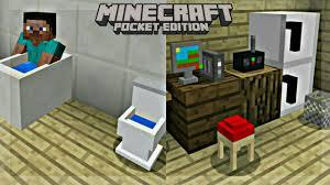 Minecraft Furniture Ideas Pe Furniture In Mcpe Mine Furniture Addon Minecraft Pe Youtube
