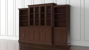 Wall Unit Bookshelves - cameo 4 piece modular aretina walnut glass door wall unit media