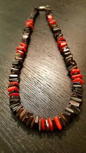 black shell necklace images Handmade natural black pen shell and red coral chip necklace cs33 jpg
