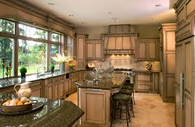 traditional open kitchen design gas stove high cabinets espresso