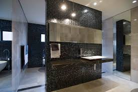 nice contemporary bathroom design with dark grey cubical marble