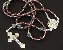 free rosary garnet rosary etsy