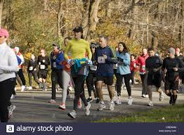 the thanksgiving day turkey trot 5 mile run in prospect park stock