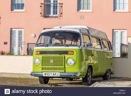 volkswagen kombi lime green volkswagen kombi t2 camper van england uk stock photo