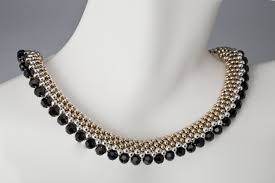 beaded silver necklace images Custom elegant beaded necklace in gold silver and black by jpg