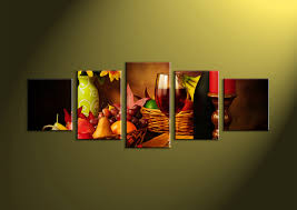 Canvas Prints Home Decor by 4 Piece Green Canvas Print Wine Fruit Wall Art