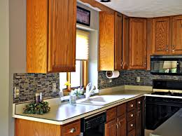 small kitchen design ash wood cabinet glass mosaic tile kitchen