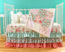 Shabby Chic Baby Bedding For Girls by Floral Baby Bedding Mustard Yellow Baby Bedding Pink