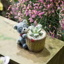 office desktop kawaii cute design bear artificial succulent plants
