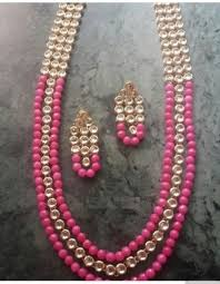 pink beads necklace images 3 layered long pink beads and kundan necklace and earrings set jpg