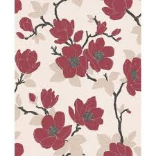 grey wallpaper with red flowers red and cream wallpaper wallpaper red cream grey e40910 tehno art