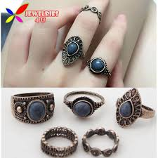 stones finger rings images Vintage ring sets fashion designer antique alloy nature blue stone jpg